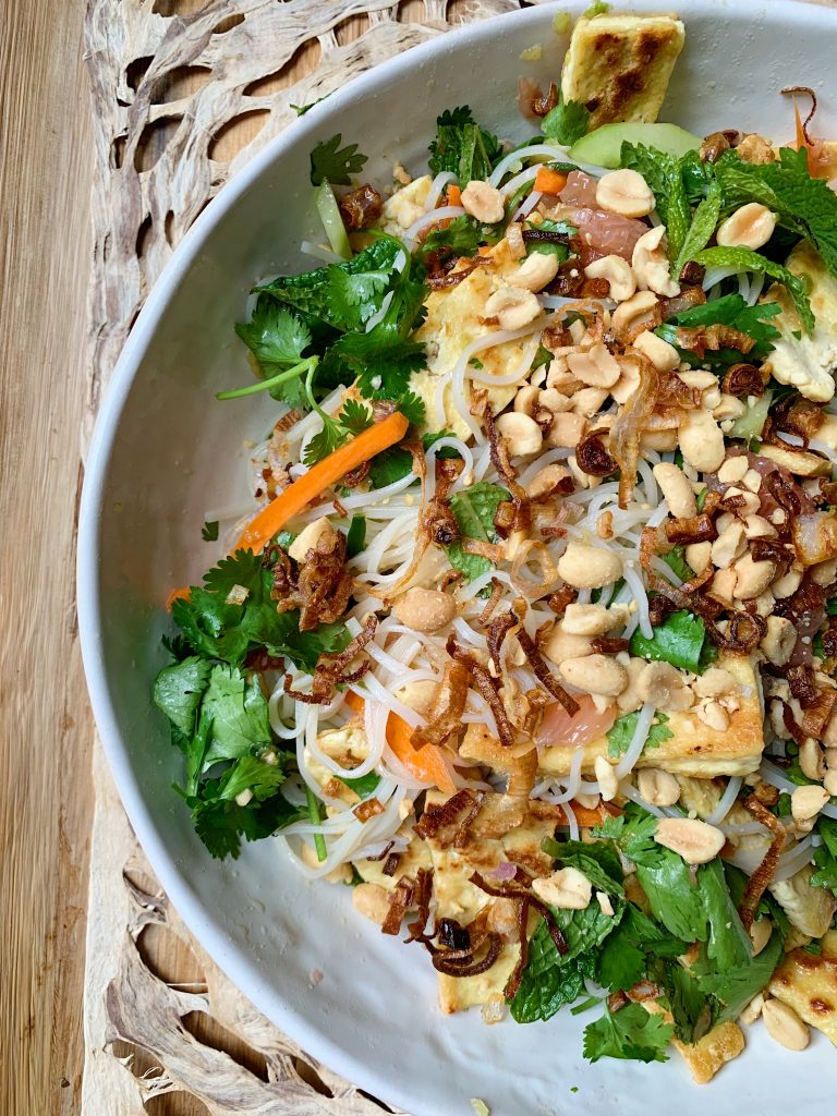 vietnamese rice noodle salad with summer herbs