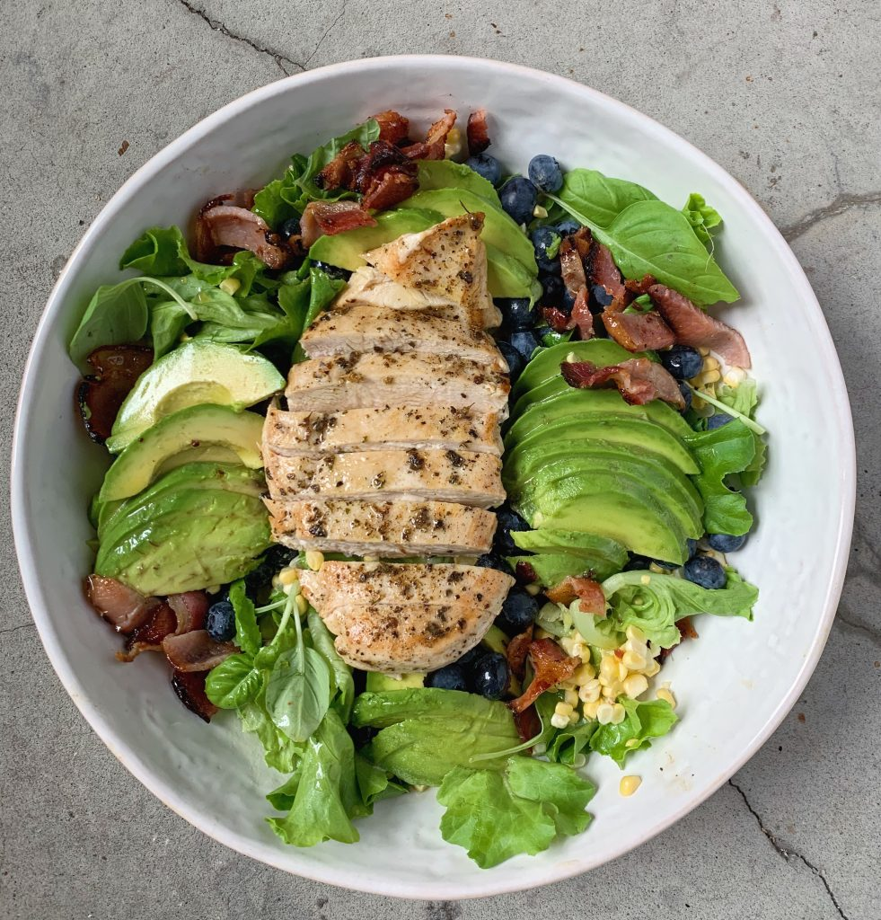 summer grilled chicken power salad from What's Gaby Cooking meal planning