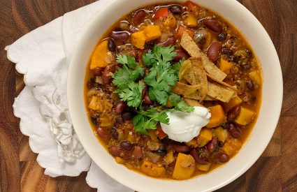 Instant Pot: Butternut Squash Risotto with Blue Cheese,Lentil Bolognese Sauce, and Vegetarian Chili with Sweet Potatoes, Black Beans, and Quinoa