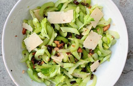 Socca or Farinata, Celery Salad with Dates, Almonds, and Parmesan, and Wacky Cake with Cocoa-Coffee Glaze